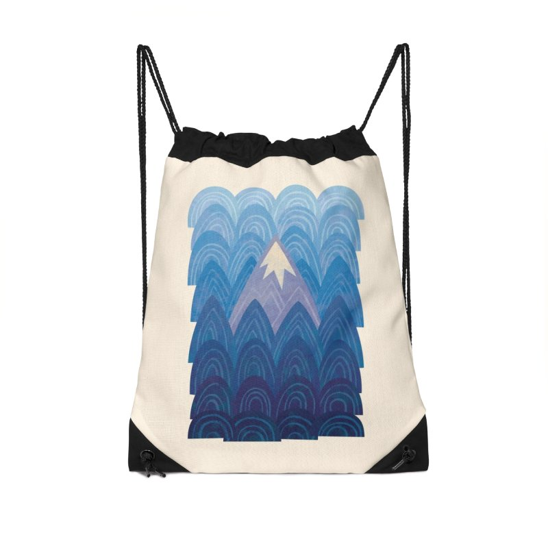 Towering Mountain : blue Accessories Drawstring Bag Bag by Waynem