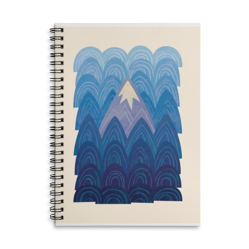 Towering Mountain : blue Accessories Lined Spiral Notebook by Waynem