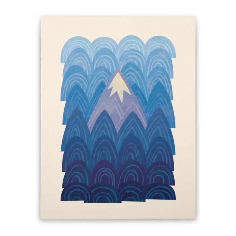 Towering Mountain : blue Home Stretched Canvas by Waynem
