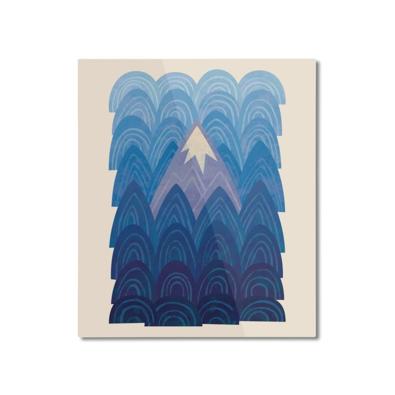 Towering Mountain : blue Home Mounted Aluminum Print by Waynem