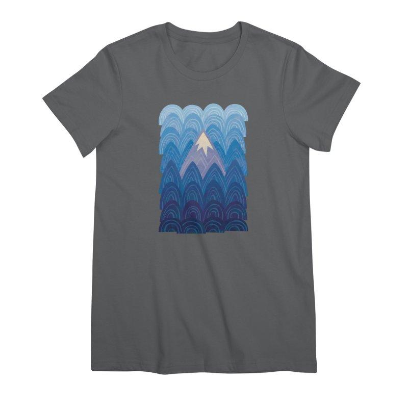 Towering Mountain : blue Women's Premium T-Shirt by Waynem