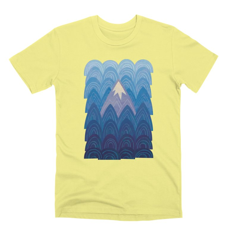 Towering Mountain : blue Men's Premium T-Shirt by Waynem