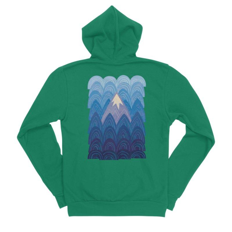 Towering Mountain : blue Women's Sponge Fleece Zip-Up Hoody by Waynem