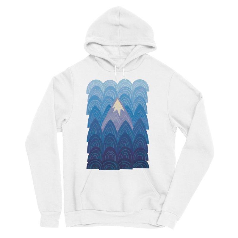 Towering Mountain : blue Women's Sponge Fleece Pullover Hoody by Waynem