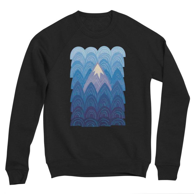 Towering Mountain : blue Men's Sponge Fleece Sweatshirt by Waynem