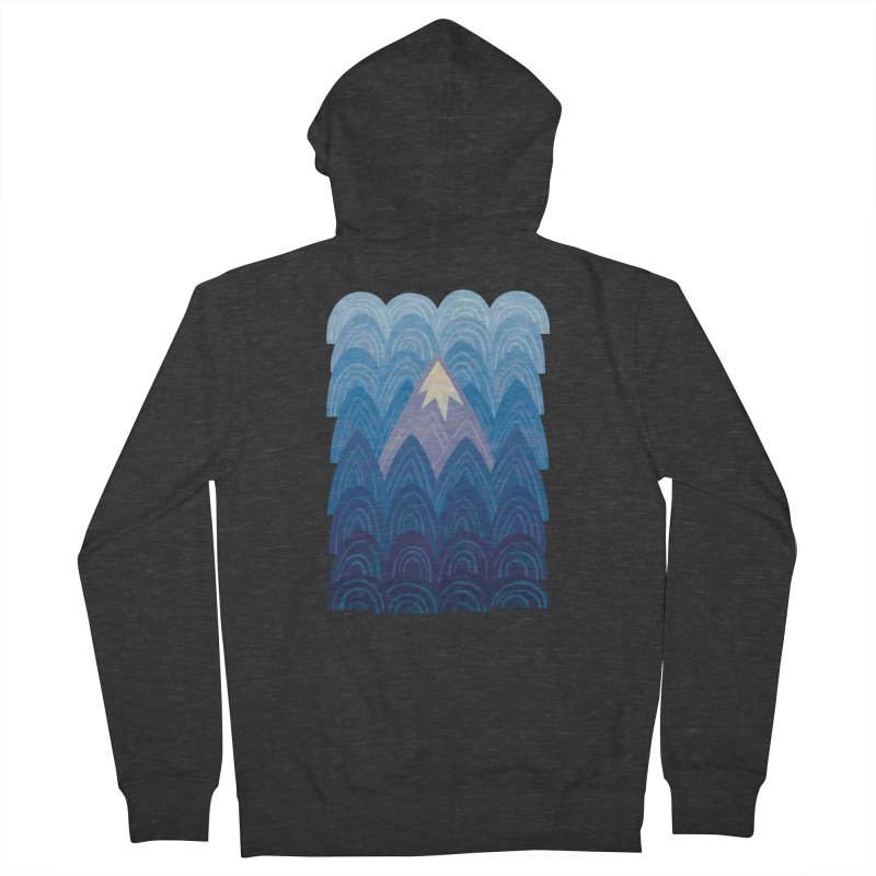 Towering Mountain : blue Women's French Terry Zip-Up Hoody by Waynem