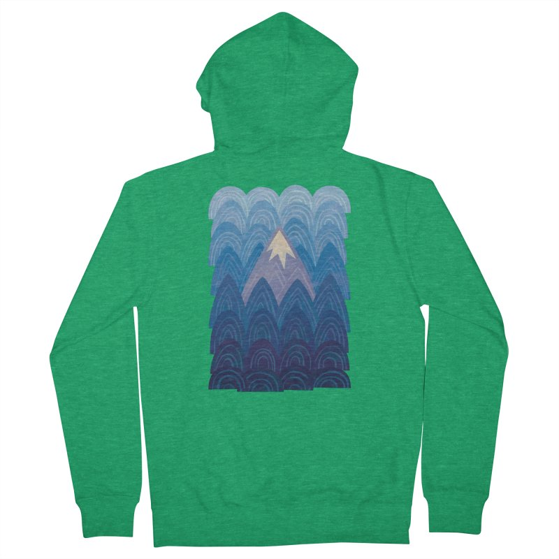 Towering Mountain : blue Men's French Terry Zip-Up Hoody by Waynem