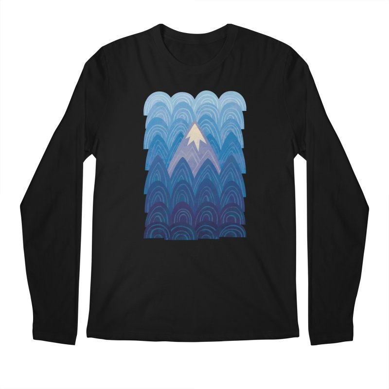 Towering Mountain : blue Men's Regular Longsleeve T-Shirt by Waynem