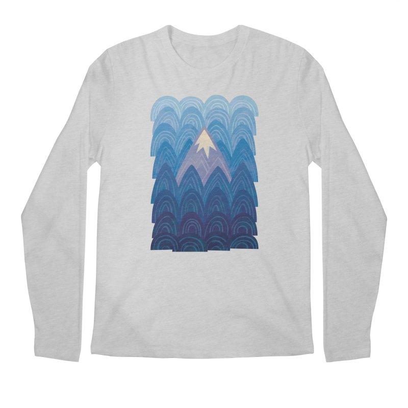 Towering Mountain : blue Men's Regular Longsleeve T-Shirt by Waynem