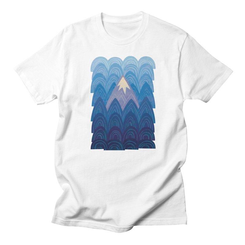 Towering Mountain : blue Women's Regular Unisex T-Shirt by Waynem