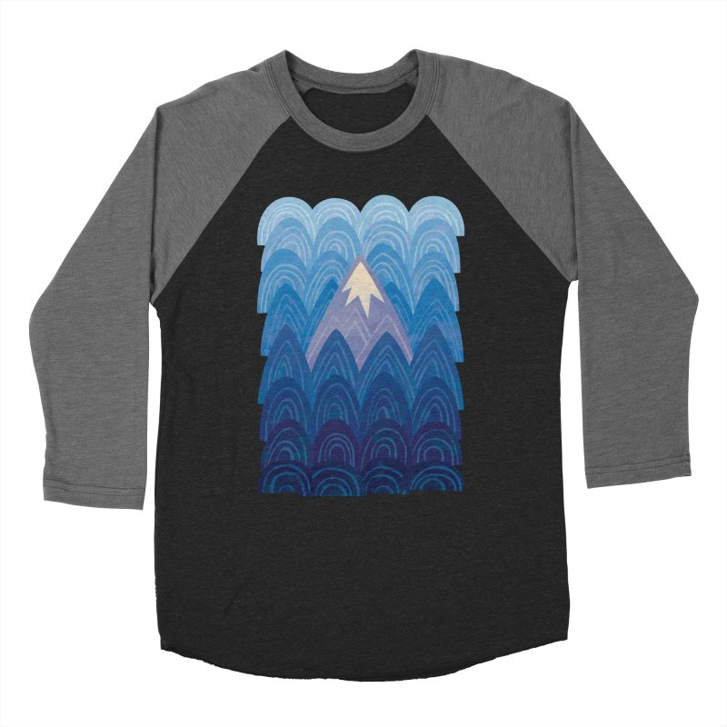 Towering Mountain : blue Men's Baseball Triblend Longsleeve T-Shirt by Waynem