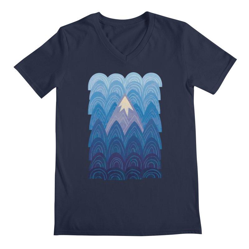 Towering Mountain : blue Men's Regular V-Neck by Waynem