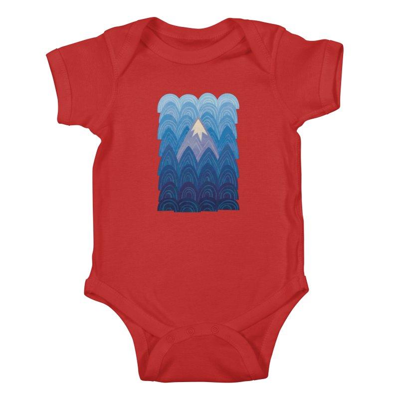 Towering Mountain : blue Kids Baby Bodysuit by Waynem