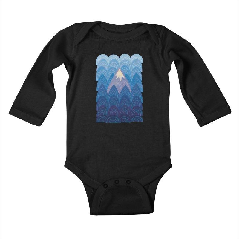 Towering Mountain : blue Kids Baby Longsleeve Bodysuit by Waynem