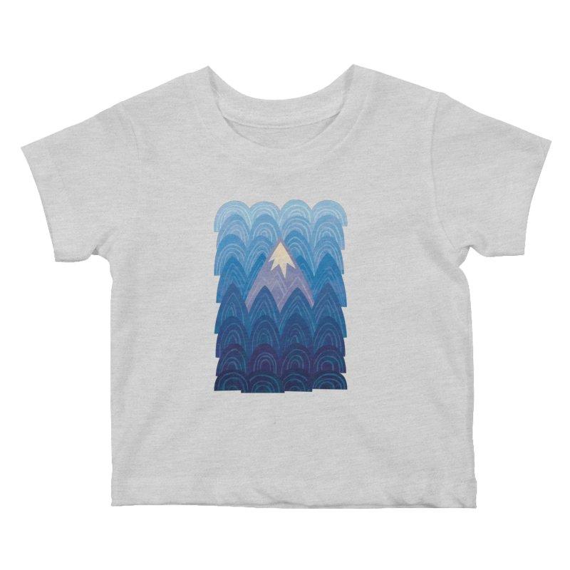 Towering Mountain : blue Kids Baby T-Shirt by Waynem