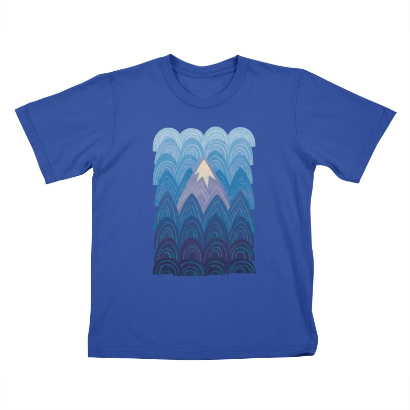 Towering Mountain : blue Kids T-Shirt by Waynem