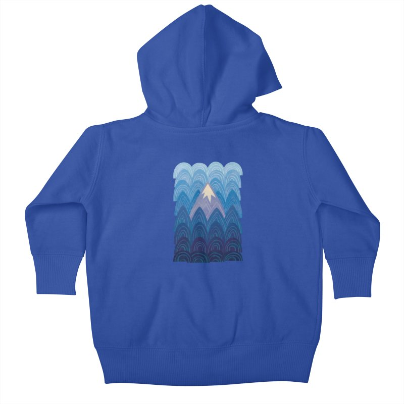 Towering Mountain : blue Kids Baby Zip-Up Hoody by Waynem