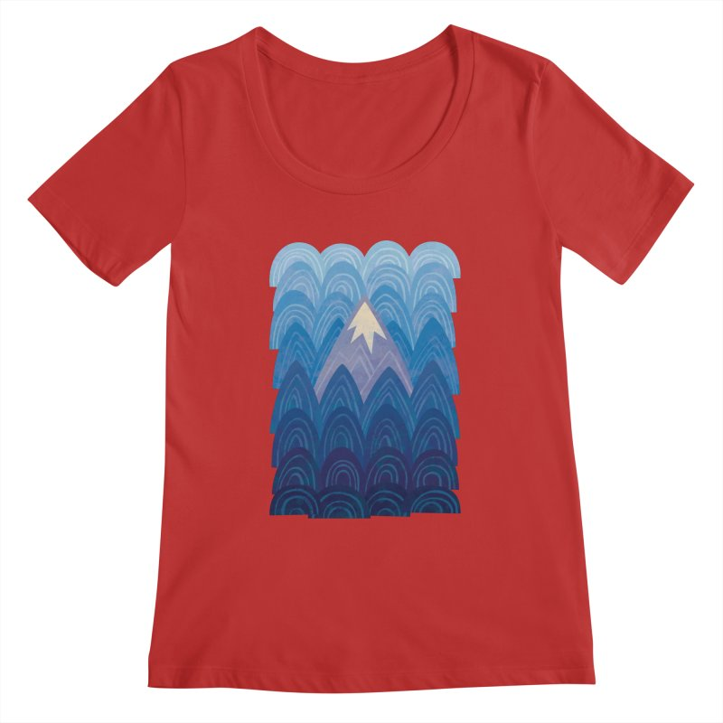 Towering Mountain : blue Women's Regular Scoop Neck by Waynem