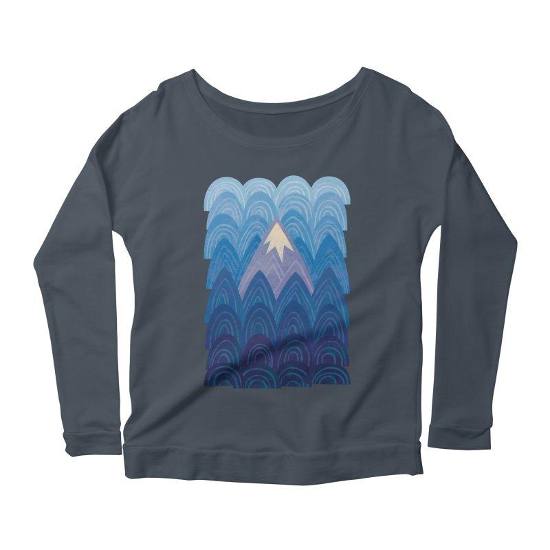 Towering Mountain : blue Women's Scoop Neck Longsleeve T-Shirt by Waynem