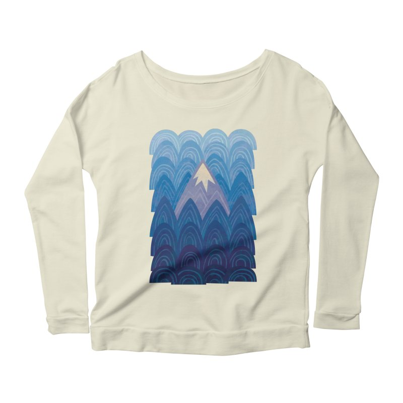 Towering Mountain : blue Women's Scoop Neck Longsleeve T-Shirt by Waynem
