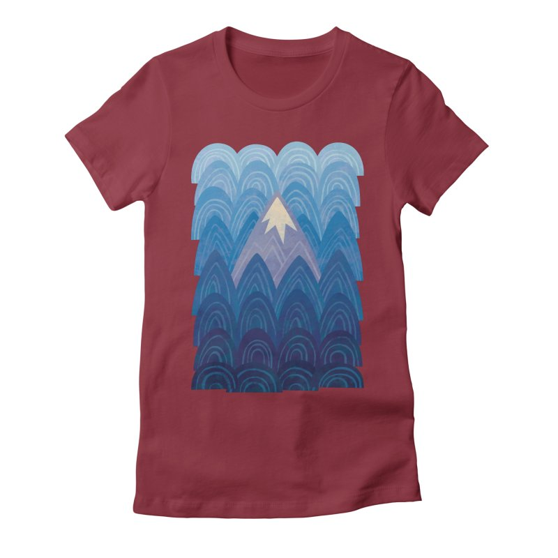 Towering Mountain : blue Women's Fitted T-Shirt by Waynem