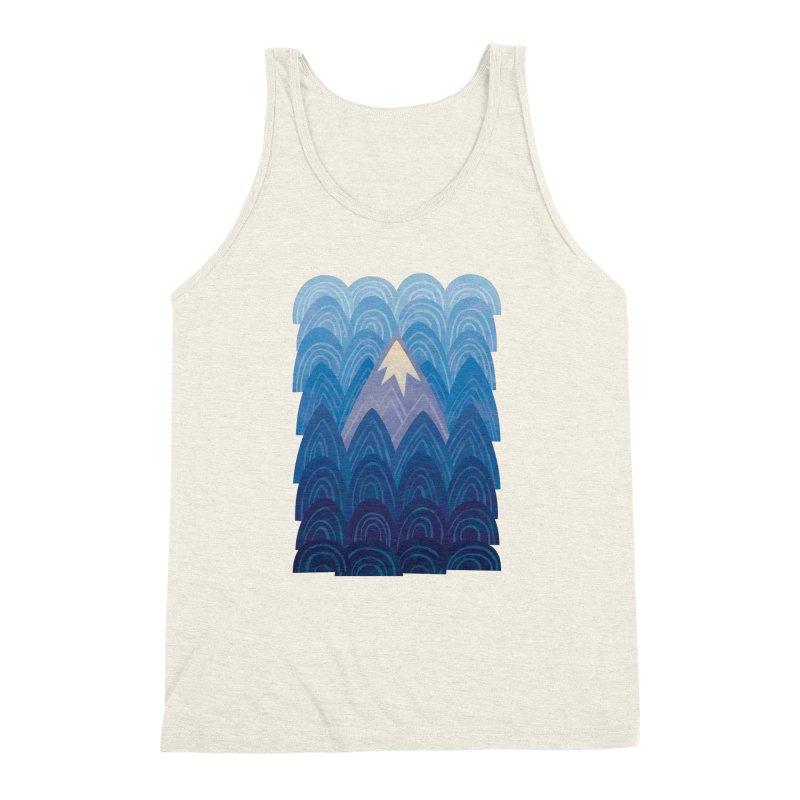 Towering Mountain : blue Men's Triblend Tank by Waynem