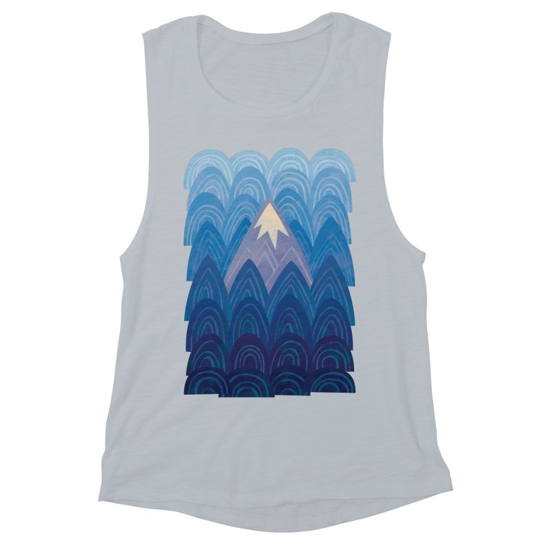 Towering Mountain : blue Women's Muscle Tank by Waynem