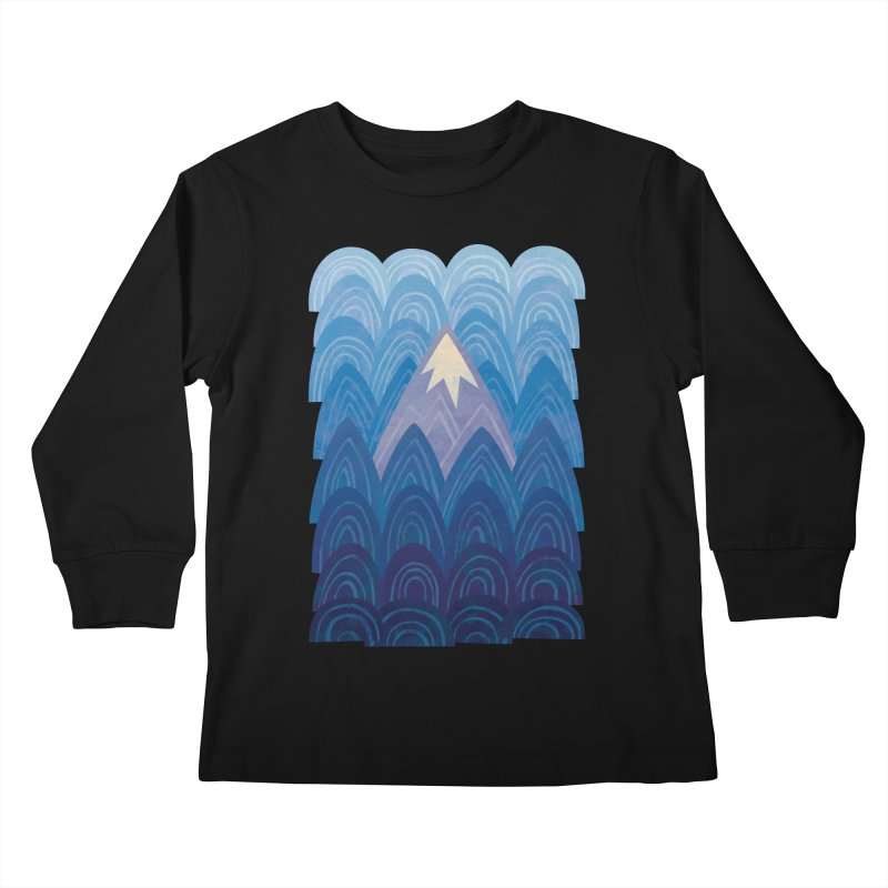 Towering Mountain : blue Kids Longsleeve T-Shirt by Waynem