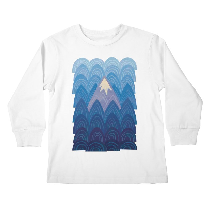 Towering Mountain : blue Kids Longsleeve T-Shirt by Waynem