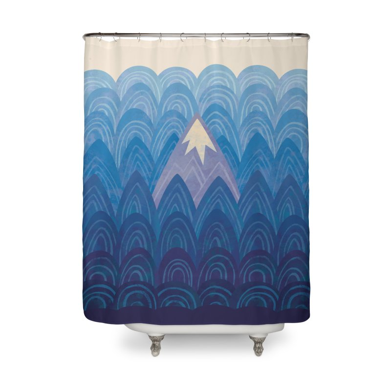 Towering Mountain : blue Home Shower Curtain by Waynem