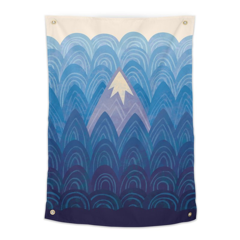 Towering Mountain : blue Home Tapestry by Waynem