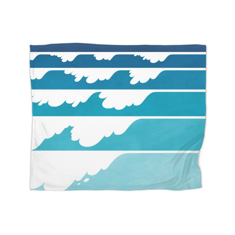 Wave Cascade Home Fleece Blanket Blanket by Waynem