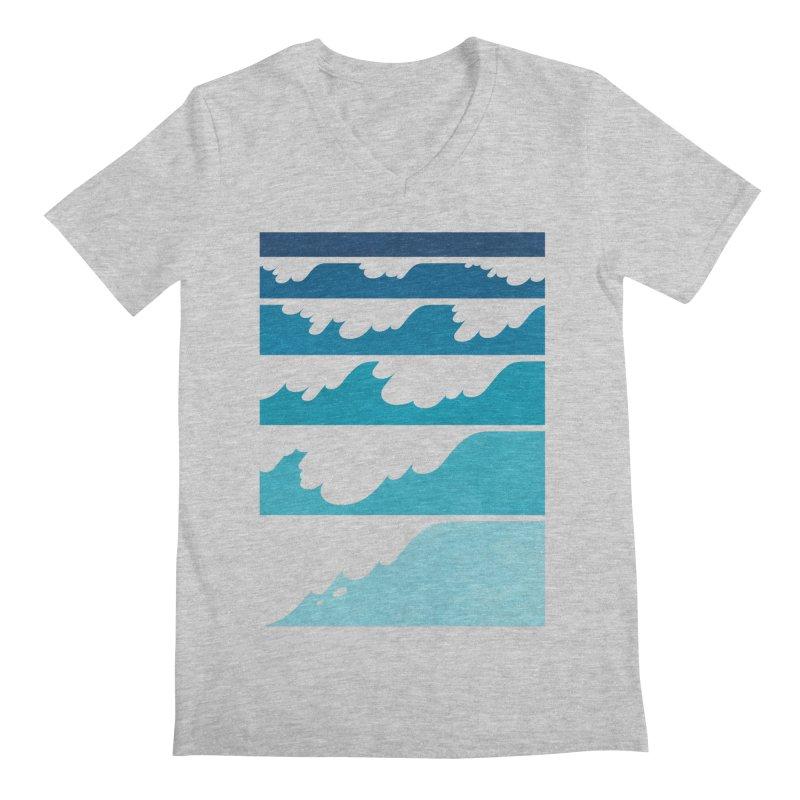Wave Cascade Men's Regular V-Neck by Waynem