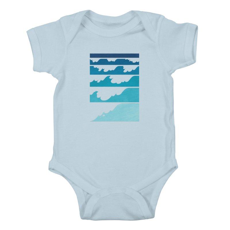 Wave Cascade Kids Baby Bodysuit by Waynem