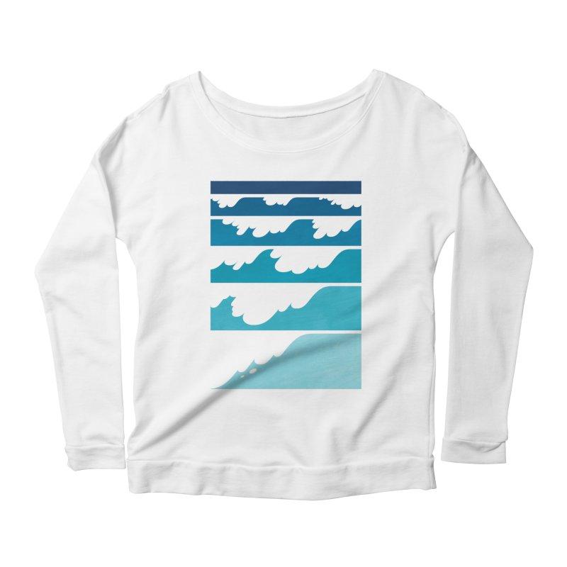 Wave Cascade Women's Scoop Neck Longsleeve T-Shirt by Waynem