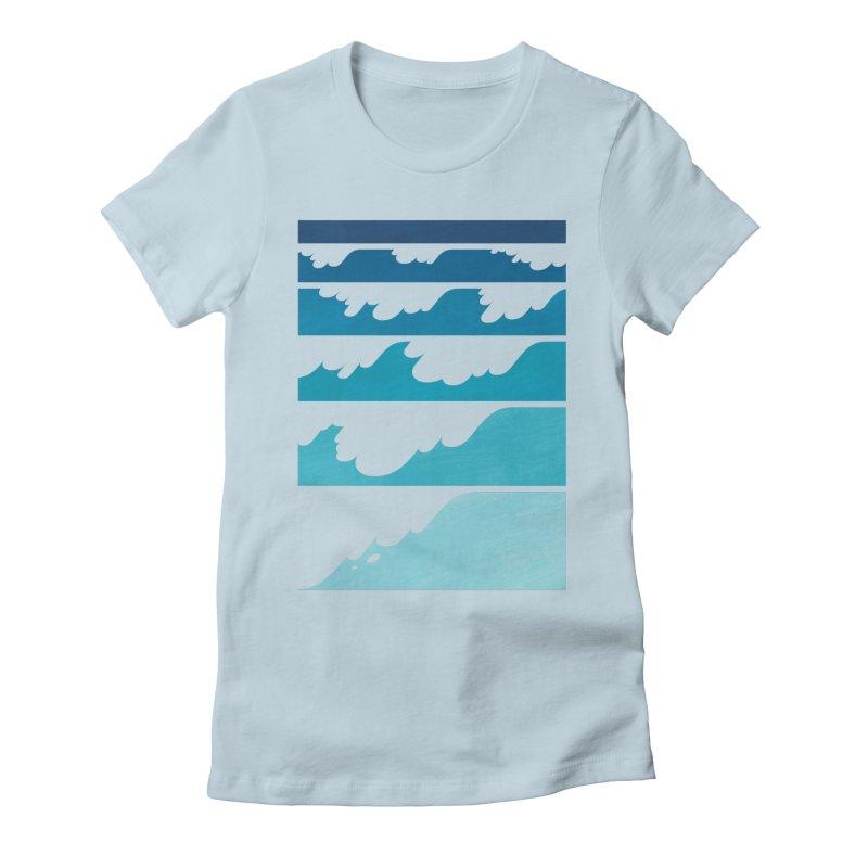 Wave Cascade Women's Fitted T-Shirt by Waynem