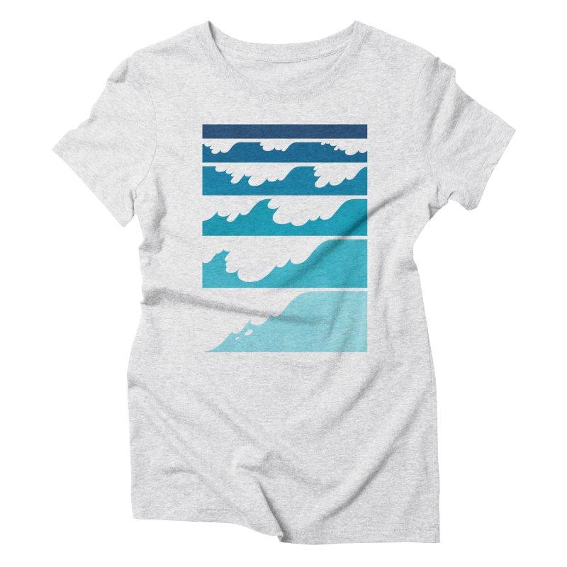 Wave Cascade Women's Triblend T-Shirt by Waynem
