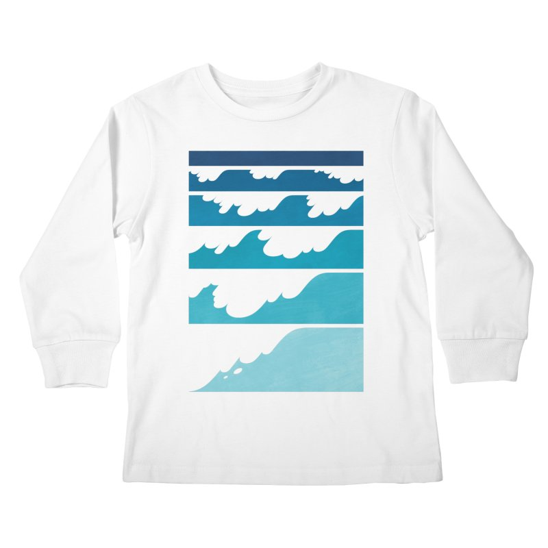 Wave Cascade Kids Longsleeve T-Shirt by Waynem