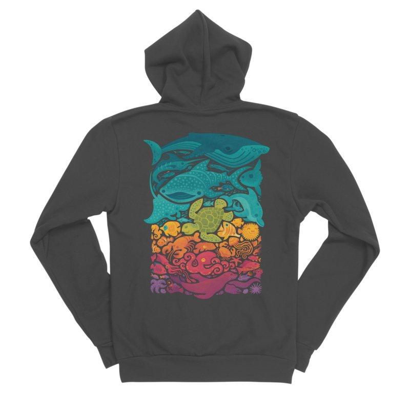 Aquatic Spectrum Men's Sponge Fleece Zip-Up Hoody by Waynem
