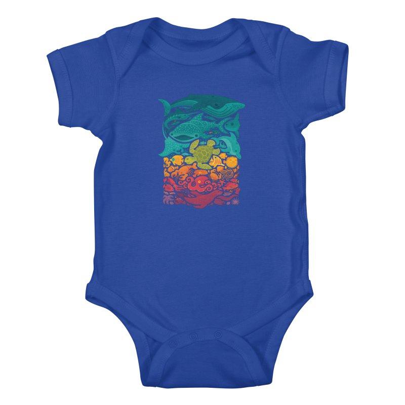 Aquatic Spectrum Kids Baby Bodysuit by Waynem