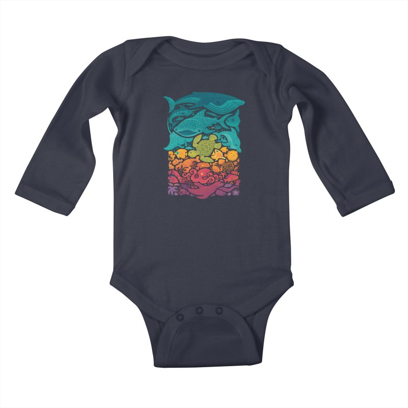 Aquatic Spectrum Kids Baby Longsleeve Bodysuit by Waynem
