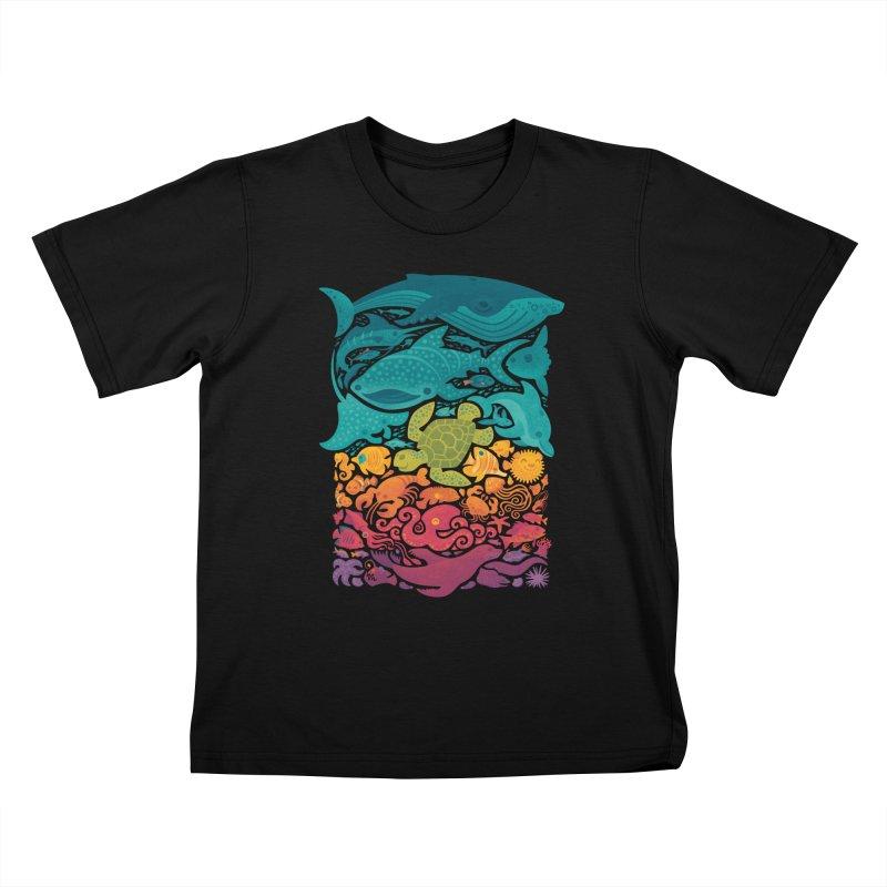 Aquatic Spectrum Kids T-Shirt by Waynem