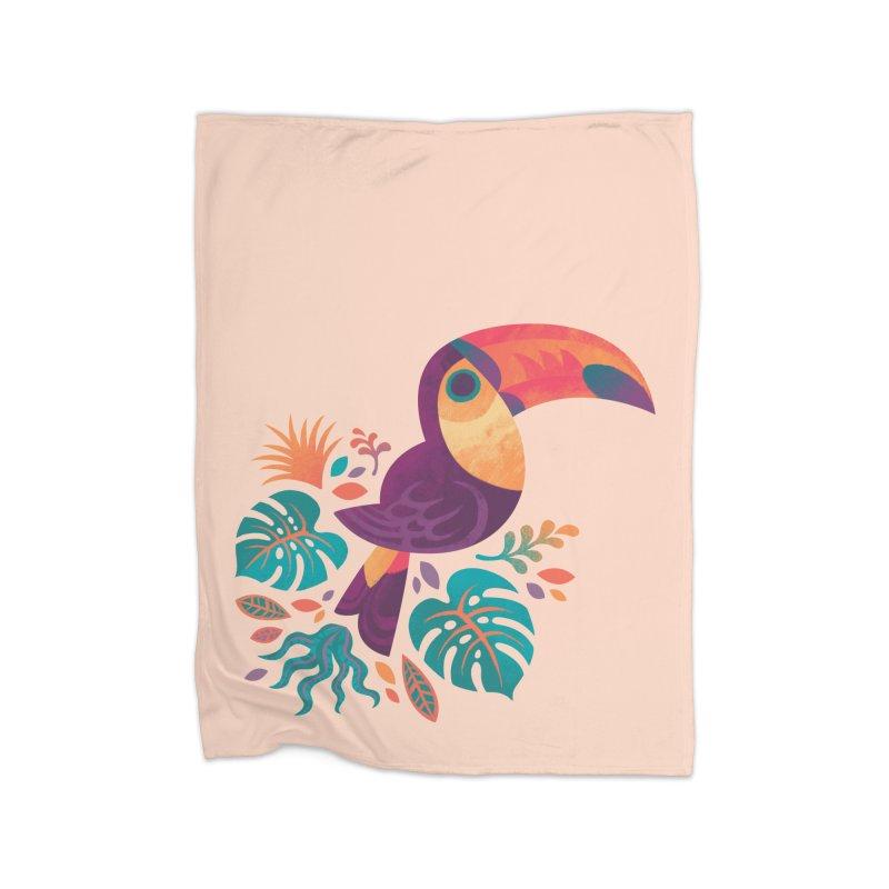 Tropical Toucan Home Fleece Blanket Blanket by Waynem