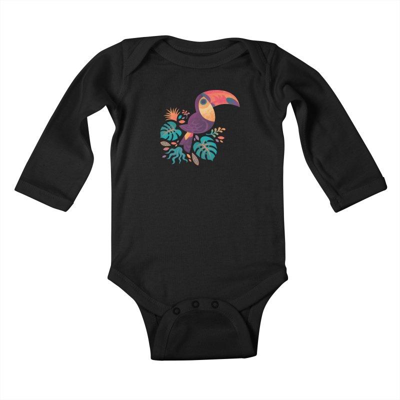 Tropical Toucan Kids Baby Longsleeve Bodysuit by Waynem