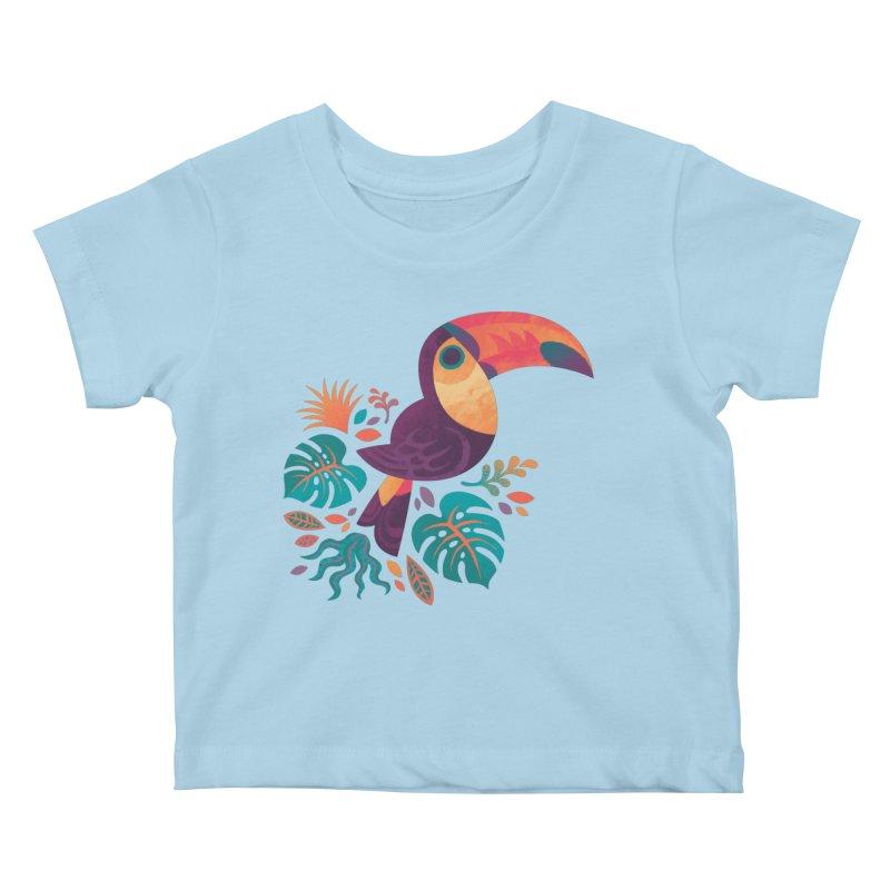 Tropical Toucan Kids Baby T-Shirt by Waynem