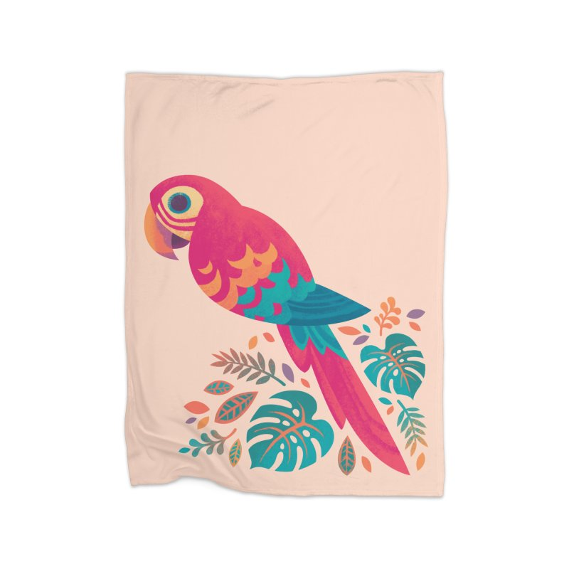 Scarlet Macaw Home Fleece Blanket Blanket by Waynem