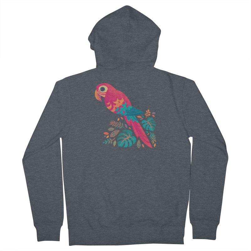 Scarlet Macaw Men's French Terry Zip-Up Hoody by Waynem