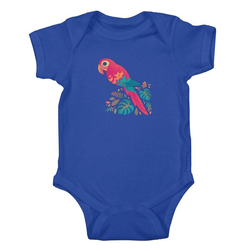 Scarlet Macaw Kids Baby Bodysuit by Waynem