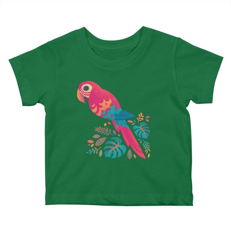 Scarlet Macaw Kids Baby T-Shirt by Waynem