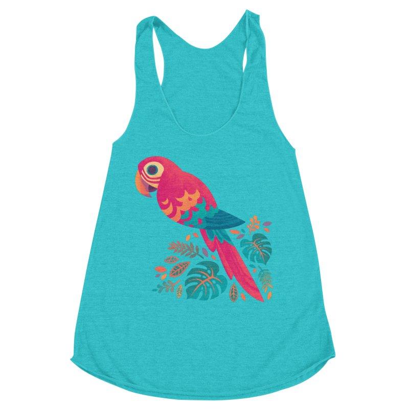 Scarlet Macaw Women's Racerback Triblend Tank by Waynem